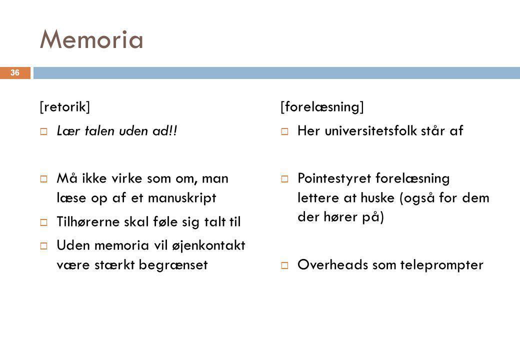 Memoria [retorik] Lær talen uden ad!!